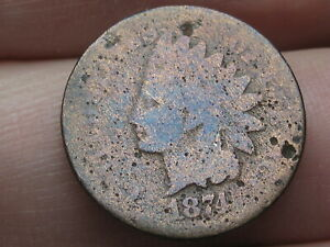 1874 INDIAN HEAD CENT PENNY  GOOD DETAILS TONED