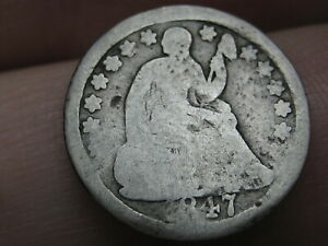 1847 P SEATED LIBERTY HALF DIME  OLD TYPE COIN