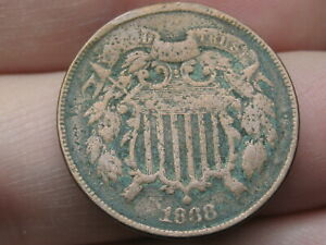 1868 TWO 2 CENT PIECE  VG DETAILS