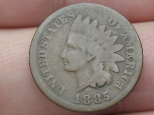 1885 INDIAN HEAD CENT PENNY  GOOD/VG DETAILS
