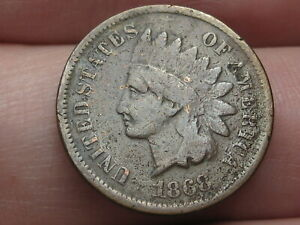 1868 INDIAN HEAD CENT PENNY  FINE DETAILS PARTIAL LIBERTY