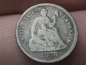 1868 P SEATED LIBERTY HALF DIME  LOW MINTAGE DATE