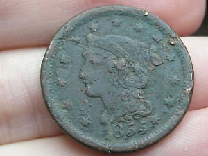 1855 BRAIDED HAIR LARGE CENT PENNY  FINE DETAILS KNOB ON EAR