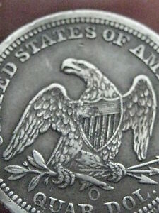 1855 O SEATED LIBERTY QUARTER  XF DETAILS   FULL RIMS