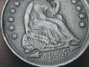 1855 P SEATED LIBERTY HALF DIME  XF DETAILS