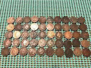 COMPLETE ROLL OF 50 1899 INDIAN HEAD PENNIES