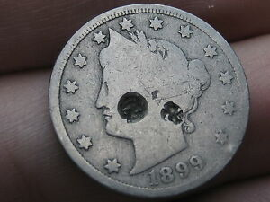 1899 LIBERTY HEAD V NICKEL  FULL DATE COUNTERSTAMPED UNIQUE