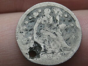 1855 P SEATED LIBERTY HALF DIME  WITH ARROWS HOLED