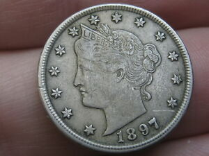 1897 LIBERTY HEAD V NICKEL 5 CENT PIECE  XF DETAILS