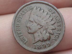 1899 INDIAN HEAD CENT PENNY FINE/VF DETAILS PARTIAL LIBERTY