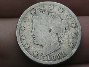 1891 LIBERTY HEAD V NICKEL 5 CENT PIECE  GOOD DETAILS FULL DATE