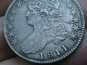 1811 CAPPED BUST HALF DOLLAR  SMALL 8 VF DETAILS