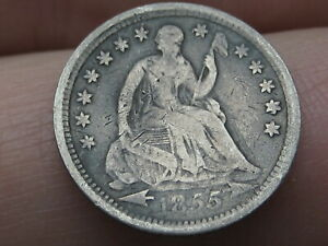 1855 P SEATED LIBERTY HALF DIME  WITH ARROWS FINE DETAILS