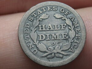 1840 O SEATED LIBERTY HALF DIME  WITH DRAPERY  GOOD DETAILS