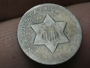 1851 THREE 3 CENT SILVER TRIME  OLD TYPE COIN