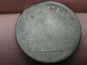 1840 SEATED LIBERTY SILVER DIME  WITH DRAPERY LOWBALL HEAVILY WORN