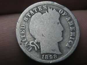 1898 S SILVER BARBER DIME  GOOD DETAILS FULL DATE
