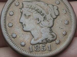 1851 BRAIDED HAIR LARGE CENT PENNY  FINE/VF DETAILS
