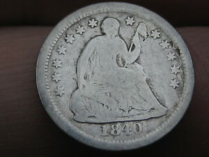 1840 O SEATED LIBERTY HALF DIME  WITH DRAPERY VG DETAILS