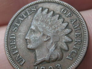 1893 INDIAN HEAD CENT PENNY VF/XF DETAILS DIAMONDS