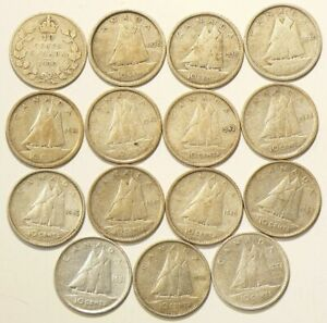 1930 TO 1954 CANADA 10 CENTS SILVER LOT OF 15 6974