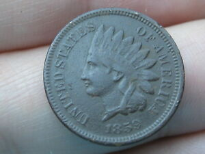 1859 COPPER NICKEL INDIAN HEAD CENT PENNY  VF DETAILS