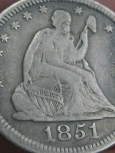 1851 SILVER SEATED LIBERTY QUARTER  LOW MINTAGE DATE