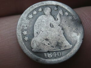1840 O SEATED LIBERTY HALF DIME WITH DRAPERY