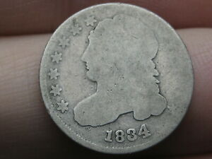 1834 CAPPED BUST SILVER DIME  LARGE 4  GOOD DETAILS