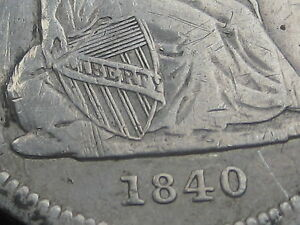 1840 P SEATED LIBERTY QUARTER WITH DRAPERY    VF DETAILS