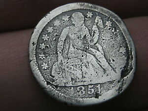1851 O SEATED LIBERTY SILVER DIME  VG DETAILS