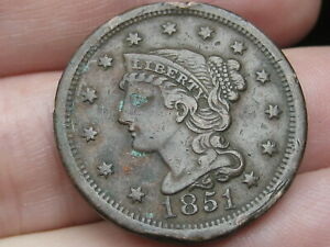 1851 BRAIDED HAIR LARGE CENT PENNY  VF/XF DETAILS