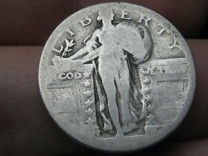 1917 S  1924 S SILVER STANDING LIBERTY QUARTER RAISED DATE TYPE 2