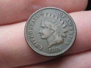 1876 INDIAN HEAD CENT PENNY  VF DETAILS