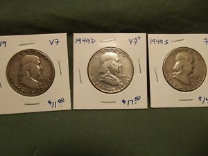 3PC 1949 PDS F VF  FRANKLIN SILVER HALF DOLLARS PLEASE READ ITEM DESCRIPTION 1