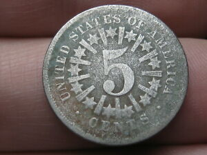 1866 SHIELD NICKEL 5 CENT PIECE  WITH RAYS