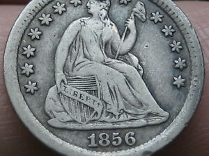 1856 P SEATED LIBERTY HALF DIME  VF/XF DETAILS
