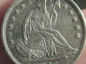 1840 SEATED LIBERTY HALF DIME  AU/MS DETAILS  LUSTER