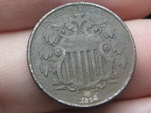 1866 SHIELD NICKEL 5 CENT PIECE  WITH RAYS VF DETAILS