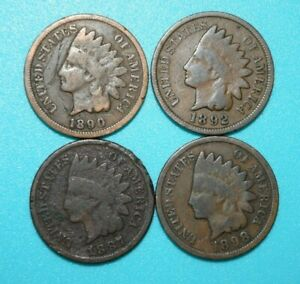 INDIAN HEAD CENTS 1887 1890 1892 1898 LOT OF 4 USA PENNIES   YOU GRADE