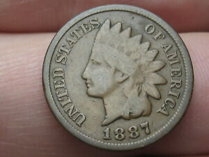 1887 INDIAN HEAD CENT PENNY  VG DETAILS FULL RIMS