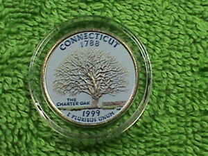 UNITED STATES  25 CENTS 1999 D  UNC  CONNECTICUT  COLORIZED  COMBINED SHIPPING