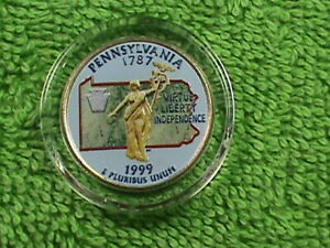 UNITED STATES  25 CENTS 1999 D UNC PENNSYLVANIA   COLORIZED  COMBINED SHIPPING