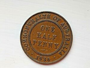 1936 AUSTRALIA HALF PENNY   GOOD DETAIL   COLLECTABLE.