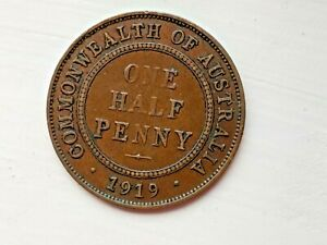 1919 AUSTRALIA HALF PENNY   GOOD DETAIL   COLLECTABLE.