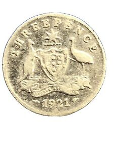 1921 AUSTRALIA KING GEORGE V HEAD SILVER THREE PENCE   KM 24  1719