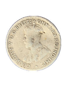 1925 AUSTRALIA KING GEORGE V HEAD SILVER THREE PENCE SLIGHTLY BENT  1733