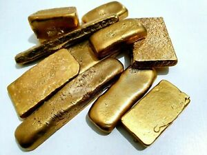 79 GRAMS SCRAP GOLD BAR FOR GOLD RECOVERY MELTED DIFFERENT COMPUTER COIN PINS