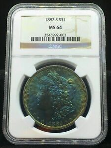 1882 S MS64 MORGAN DOLLAR SUPER  AMAZING BLUEBERRY TONING FRONT & BACK