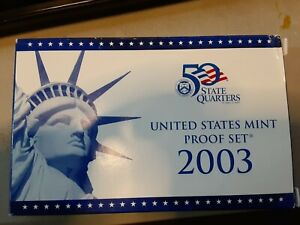 2003 S US MINT PROOF SET: COMPLETE 10 COIN SET W/STATE QUARTERS BOX COA